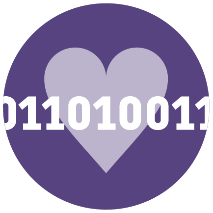 a heart with binary code
