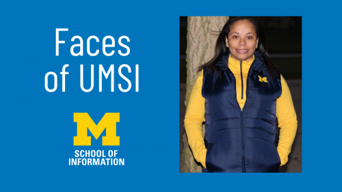 "Graphic featuring Jacque Adams headshot and the text: ""Faces of UMSI"""