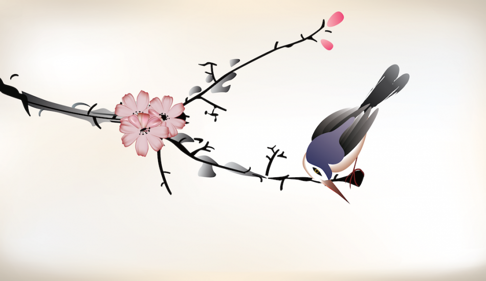 A bird sitting on the branch of a cherry tree next to a cherry blossom