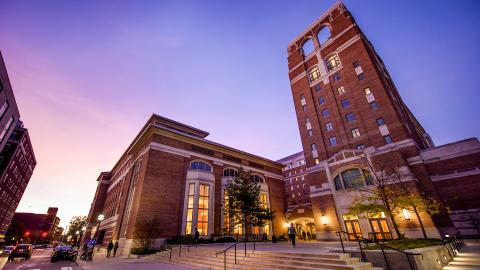 Image of North Quad at night