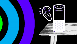 A graphic of an Alexa device with an ear drawn next to it. To its left sound waves are represented.