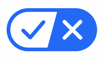 a blue stylized toggle icon