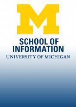 A placeholder in the absence of a photo of Kathleen, the UMSI logo